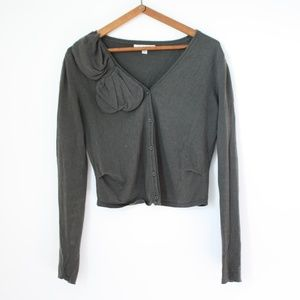 CAbi Cropped Cardigan with Abstract Detail Sz S